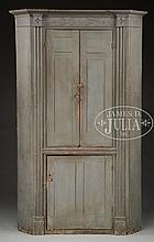 RARE AND IMPORTANT FEDERAL CARVED BLUE PAINTED CORNER CUPBOARD. BERGEN COUNTY N.J.