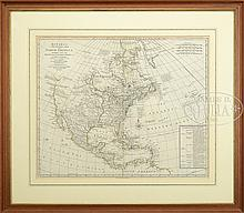 FRAMED BOWLES'S NEW POCKET MAP OF NORTH AMERICA, 1784.