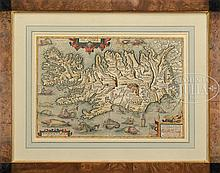 EARLY FRAMED MAPS OF CHINA AND ICELAND.