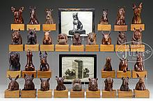 GROUP OF 30 HAND-CARVED AND POLISHED ANIMALS BY ARTHUR L. RITCHOTTE.