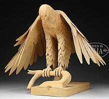 CONTEMPORARY CARVED WOOD EAGLE.