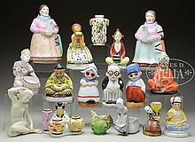 GROUP OF GERMAN PORCELAIN NIGHT LIGHTS, TOGETHER WITH FIGURAL TEAPOT AND MATCHING STILL BANK.