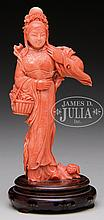 RED CORAL CARVING OF STANDING FIGURE.