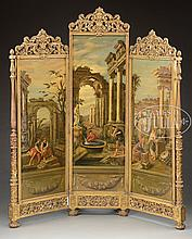 ROCOCO REVIVAL CARVED GILT THREE PANEL DRESSING SCREEN WITH LANDSCAPE PAINTED PANELS.