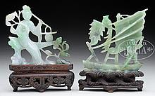TWO CARVED JADEITE STATUES.