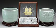 PAIR OF PORCELAIN POTS ALONG WITH SWEETMEAT SET.