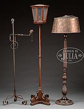 THREE ARCHITECTURAL STYLE FLOOR LAMPS.