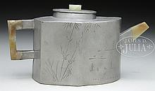 YIXING LINED PEWTER TEAPOT.
