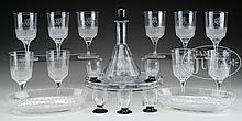 8-PIECE DAUM NANCY LIQUOR SET, 10 CUT GLASS GOBLETS & 2 CUT GLASS DISHES.