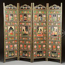 FOUR PANEL DOUBLE-SIDED PAINTED SCREEN.