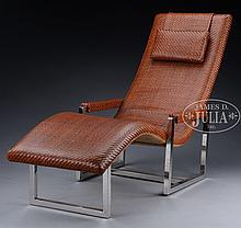 CONTEMPORARY WOVEN LEATHER CHAISE LOUNGE ON A CHROME FRAME.