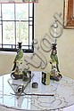 PAIR OF CERAMIC PARROT CANDLESTICKS AND OTHER TABLE ARTICLES