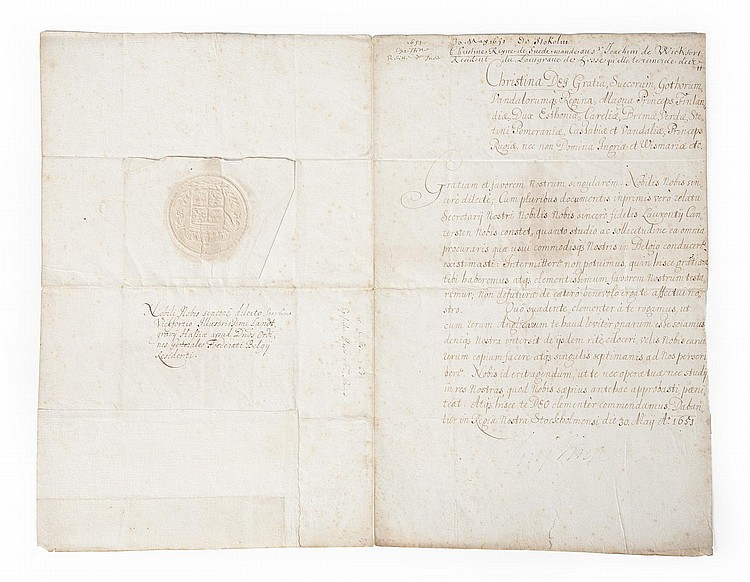 GRETA GARBO QUEEN CHRISTINA DOCUMENT FROM 1651
