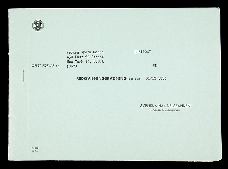 GRETA GARBO SWEDISH BANK STATEMENT FROM 1956