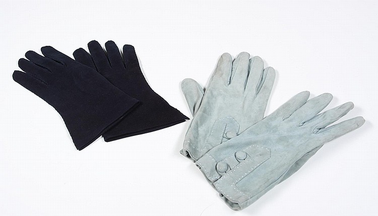 GRETA GARBO BLUE AND GRAY GLOVES