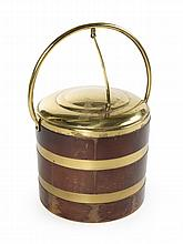 GRETA GARBO KEYSTONEWARE WOOD AND BRASS BOUND ICE BUCKET