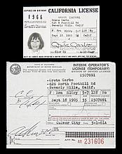 GRETA GARBO CALIFORNIA DRIVER LICENSE DOCUMENTS