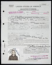 GRETA GARBO IMMIGRATION AND NATURALIZATION DOCUMENT