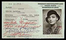 GRETA GARBO UNITED STATES IMMIGRANT IDENTIFICATION CARD