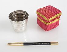 GRETA GARBO TIFFANY GLASS WITH ITEMS FROM DESK