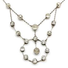 Old Mine Cut Diamond Platinum Necklace