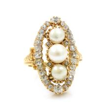 Old Mine Cut Diamond & Pearl in 18k Gold Ring
