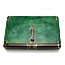 Art Deco Diamond Sapphire Enamel Gold Vanity