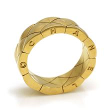 Chanel 18k Yellow Gold Quilted Band Ring