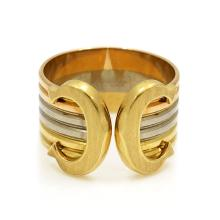 Cartier 18k Tri-Color Gold Double C Band Ring