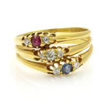 Diamond Ruby Sapphire 3-Row 18k Gold Ring, English