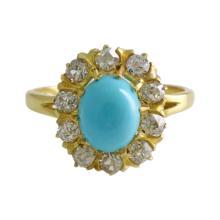 Diamond Turquoise 14k Gold Ring
