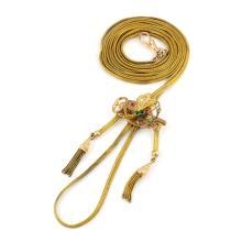 14k Gold Tassel Slider Long Necklace