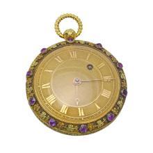 Antique 18K Gold Amethyst Verge Pocket Watch