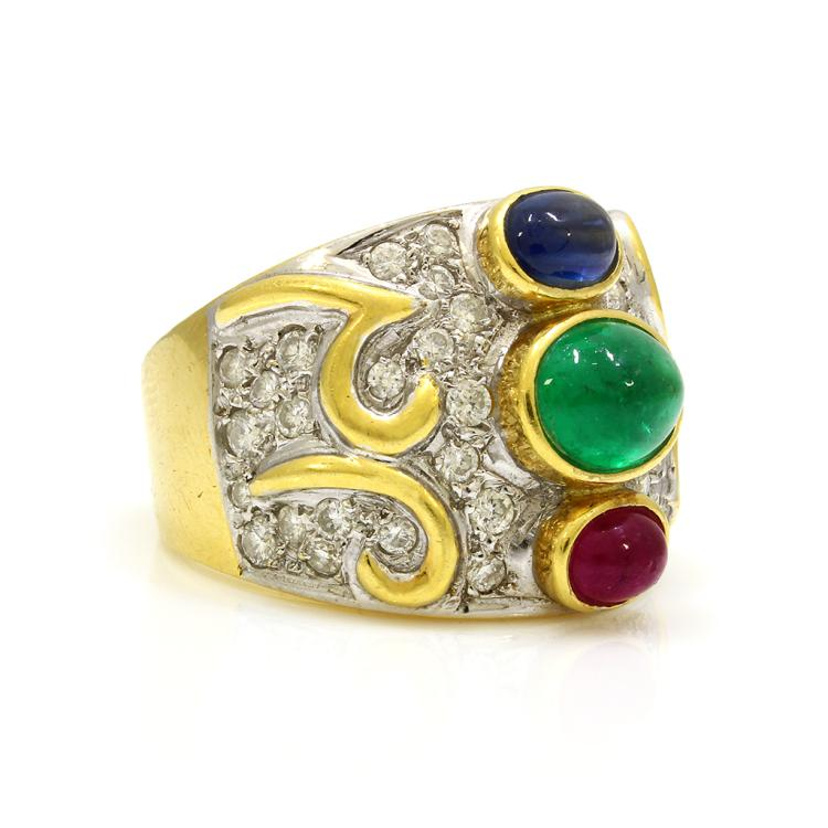 emerald ruby sapphire 18k gold ring
