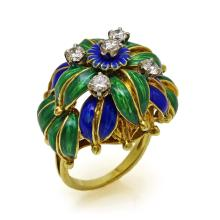 Enamel Diamond 18K Yellow Gold Flower Ring