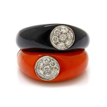 Diamond Coral Onyx 14K Gold Double Ring