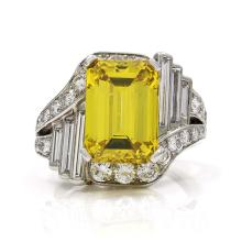 GIA Cert 5.23 ct Yellow Diamond Platinum Cluster Ring