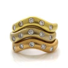Diamond 18K Tri Color Gold Triple Stack Band Ring