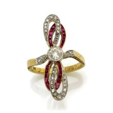 Diamond Ruby 18K Two Tone Gold Ring
