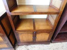 Asian style bamboo inlaid bookshelf with cabinet