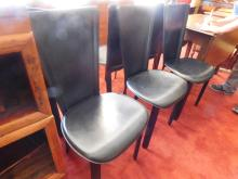 Set of (6) Italian Leather Modern chairs