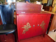 Vintage Oriental designed painted cabinet