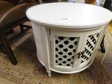 Rustic white painted round cabinet table