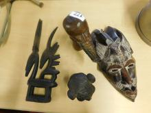 (2) African wood carvings & (1) African carved mask (4) pcs total