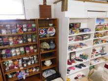 Shelf lot of misc pottery, servingware, vintage items, Pontiac advertising and Gondinger cake dish