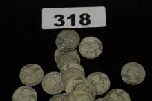 Bag of 1950s quarters $20 face value SILVER COINS