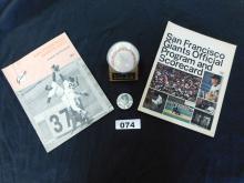 Willie Mays Giants Baseball lot, baseball, Willie Mays pin, SF Giants Official Program & Scorecards 1971 & 1972