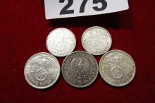 1930s THIRD REICHE GERMAN DEUTICHESREICH COINS (5) EACH 900 SILVER