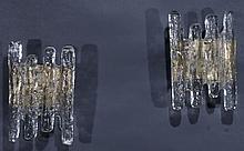PAIR ITALIAN GLASS & BRASS WALL SCONCES C.1960