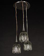 LABELED ALUMINUM HANGING LIGHT 3 SHADES 1970